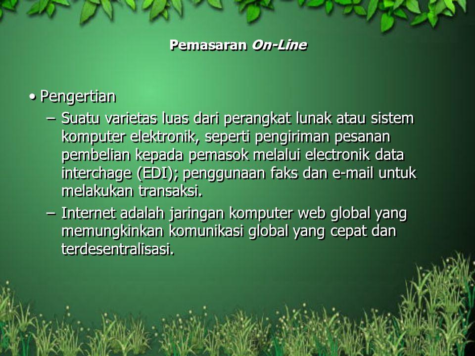 Pemasaran On-Line Pengertian –Suatu varietas luas dari perangkat lunak atau sistem komputer elektronik, seperti pengiriman pesanan pembelian kepada pe