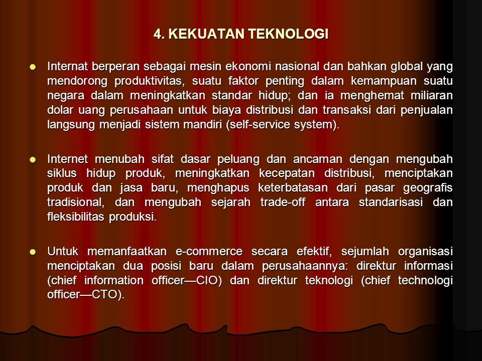 4. KEKUATAN TEKNOLOGI Internat berperan sebagai mesin ekonomi nasional dan bahkan global yang mendorong produktivitas, suatu faktor penting dalam kema