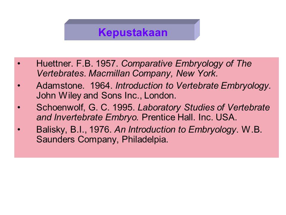 Huettner.F.B. 1957. Comparative Embryology of The Vertebrates.