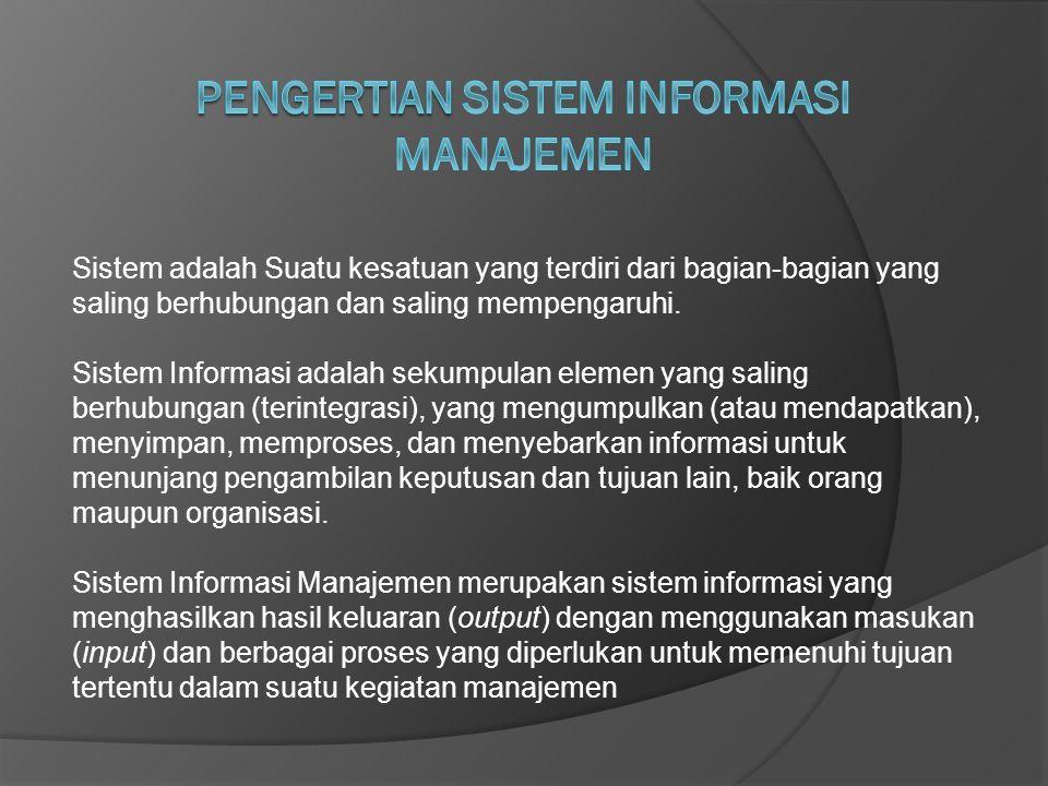 Sistem adalah Suatu kesatuan yang terdiri dari bagian-bagian yang saling berhubungan dan saling mempengaruhi. Sistem Informasi adalah sekumpulan eleme