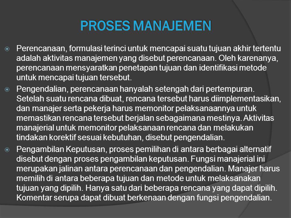  Perencanaan, formulasi terinci untuk mencapai suatu tujuan akhir tertentu adalah aktivitas manajemen yang disebut perencanaan. Oleh karenanya, peren