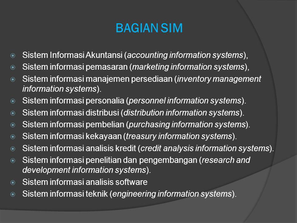 BAGIAN SIM  Sistem Informasi Akuntansi (accounting information systems),  Sistem informasi pemasaran (marketing information systems),  Sistem infor
