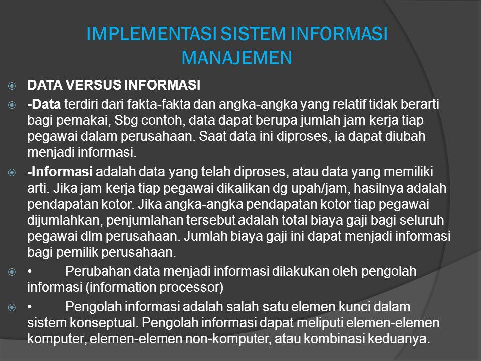 IMPLEMENTASI SISTEM INFORMASI MANAJEMEN  DATA VERSUS INFORMASI  -Data terdiri dari fakta-fakta dan angka-angka yang relatif tidak berarti bagi pemak