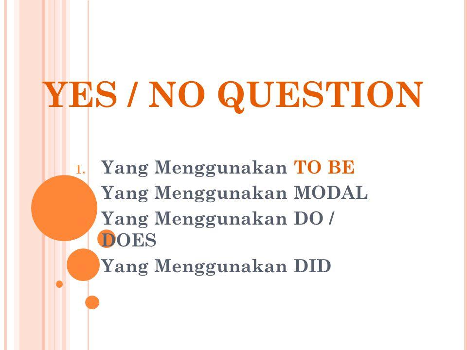 YES / NO QUESTION 1.Yang Menggunakan TO BE 2. Yang Menggunakan MODAL 3.