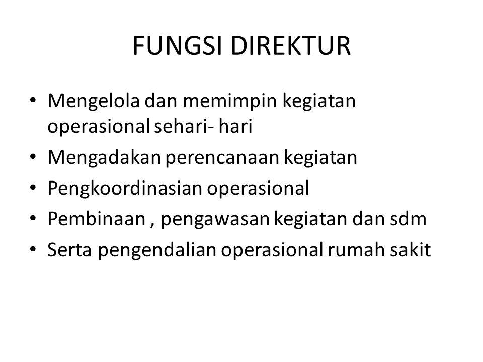 FUNGSI DIREKTUR Mengelola dan memimpin kegiatan operasional sehari- hari Mengadakan perencanaan kegiatan Pengkoordinasian operasional Pembinaan, penga