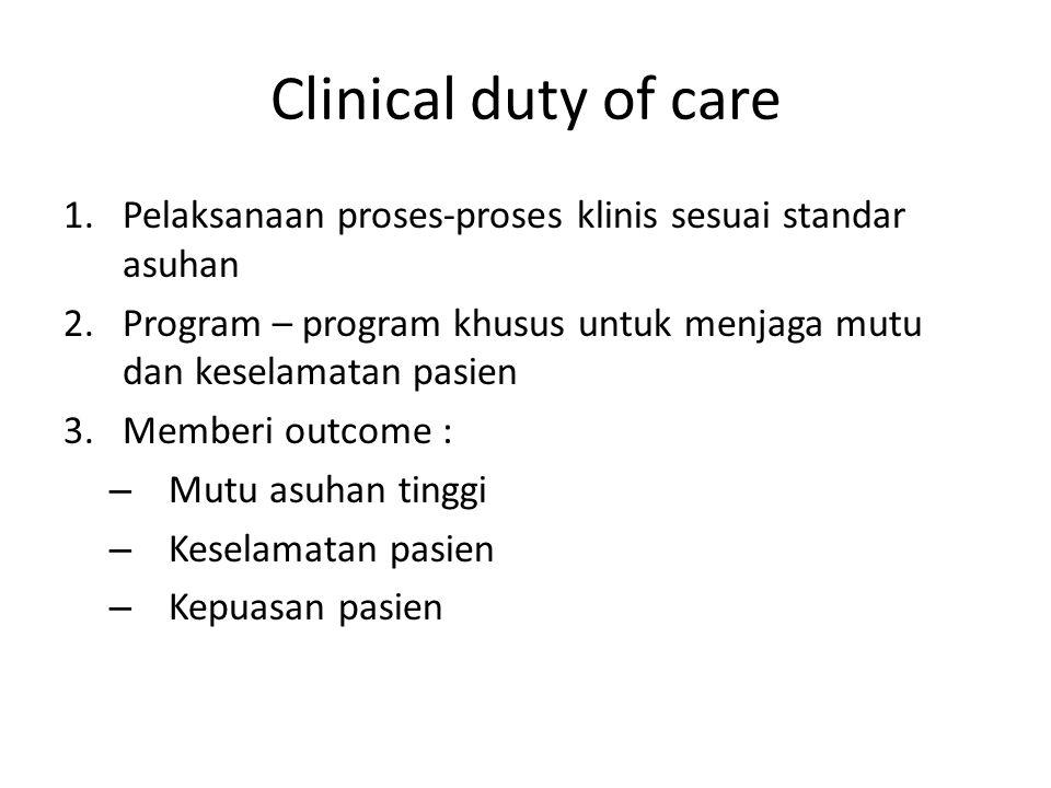 Clinical duty of care 1.Pelaksanaan proses-proses klinis sesuai standar asuhan 2.Program – program khusus untuk menjaga mutu dan keselamatan pasien 3.