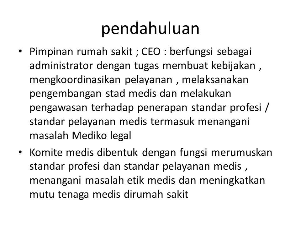 pendahuluan Pimpinan rumah sakit ; CEO : berfungsi sebagai administrator dengan tugas membuat kebijakan, mengkoordinasikan pelayanan, melaksanakan pen