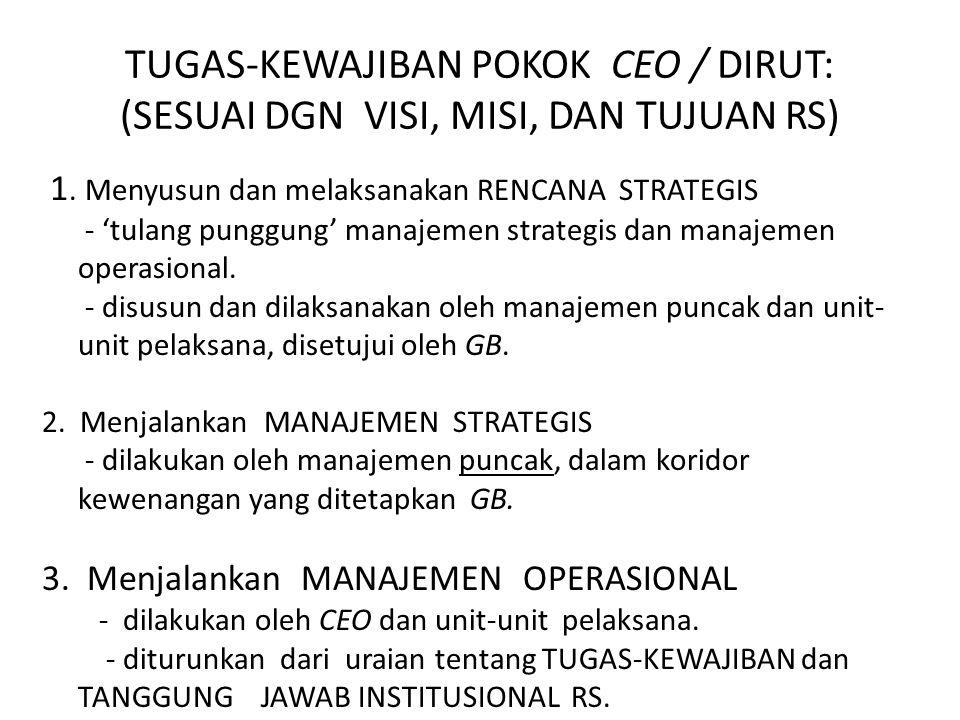 TUGAS-KEWAJIBAN POKOK CEO / DIRUT: (SESUAI DGN VISI, MISI, DAN TUJUAN RS) 1. Menyusun dan melaksanakan RENCANA STRATEGIS - 'tulang punggung' manajemen