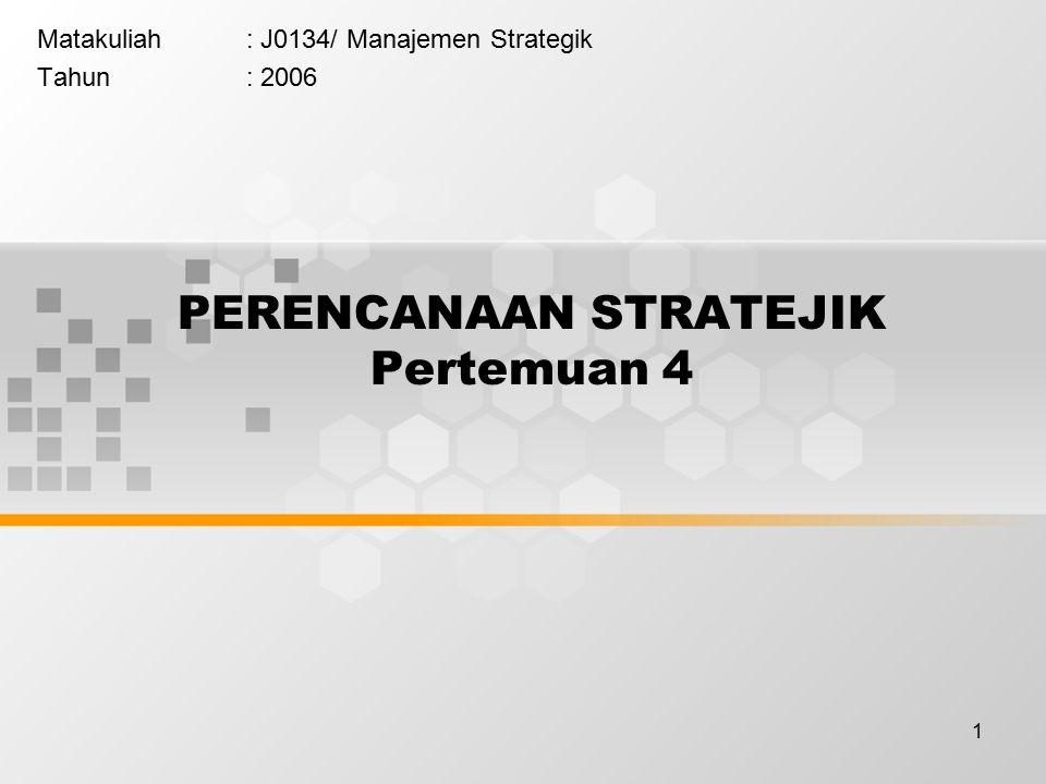 1 PERENCANAAN STRATEJIK Pertemuan 4 Matakuliah: J0134/ Manajemen Strategik Tahun: 2006