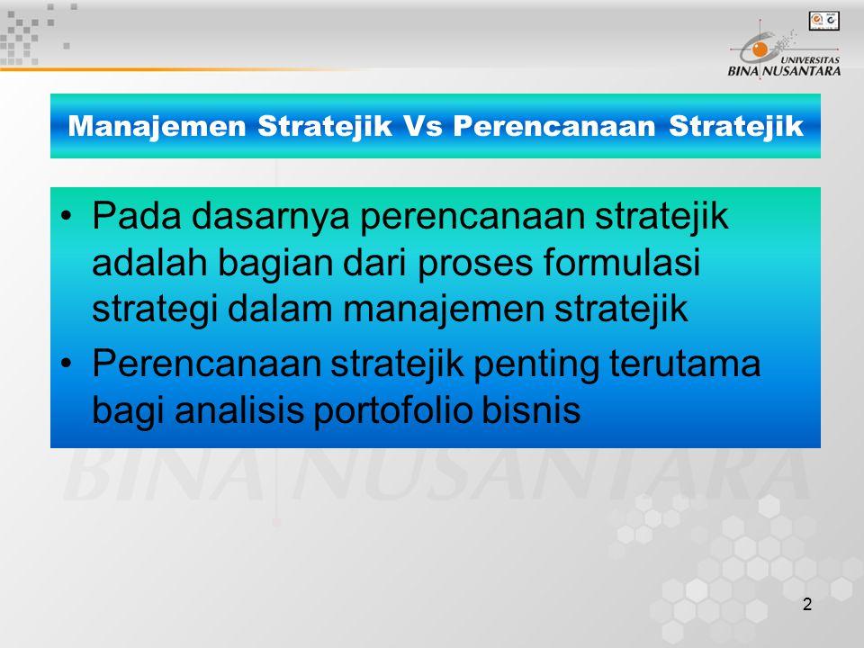 2 Pada dasarnya perencanaan stratejik adalah bagian dari proses formulasi strategi dalam manajemen stratejik Perencanaan stratejik penting terutama bagi analisis portofolio bisnis Manajemen Stratejik Vs Perencanaan Stratejik