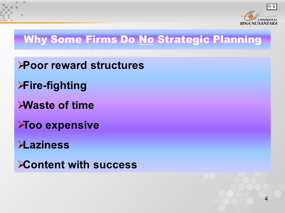 5 Why Some Firms Do No Strategic Planning Fear of failure Overconfidence Prior bad experience Self-interest Fear of the unknown Suspicion