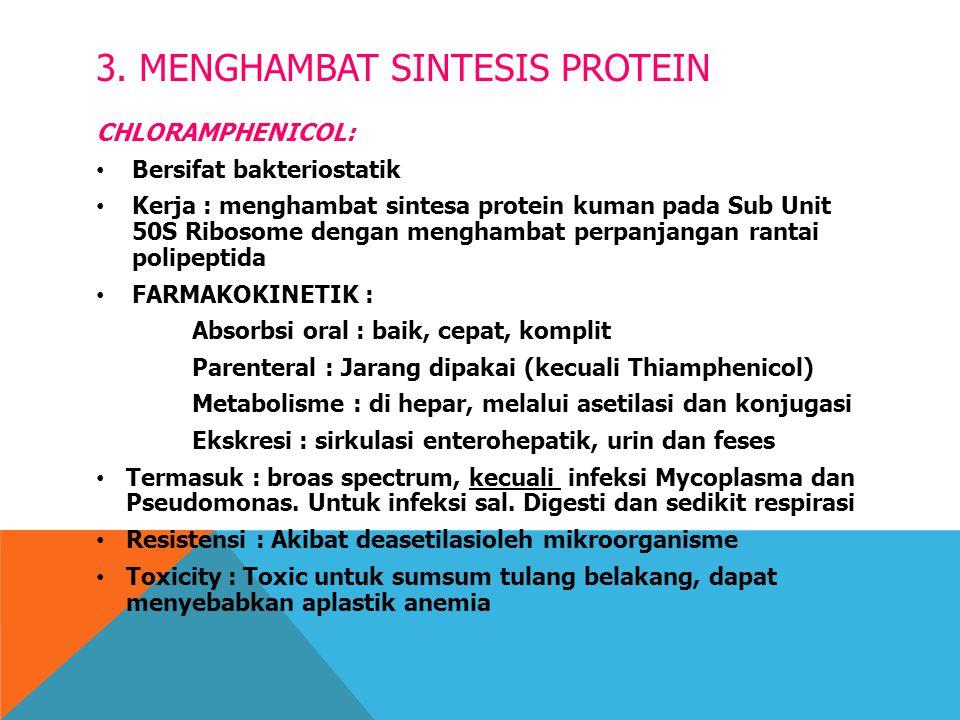 3. MENGHAMBAT SINTESIS PROTEIN CHLORAMPHENICOL: Bersifat bakteriostatik Kerja : menghambat sintesa protein kuman pada Sub Unit 50S Ribosome dengan men