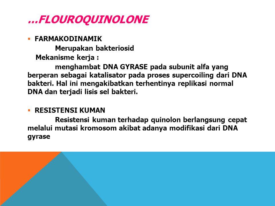 ...FLOUROQUINOLONE  FARMAKODINAMIK Merupakan bakteriosid Mekanisme kerja : menghambat DNA GYRASE pada subunit alfa yang berperan sebagai katalisator