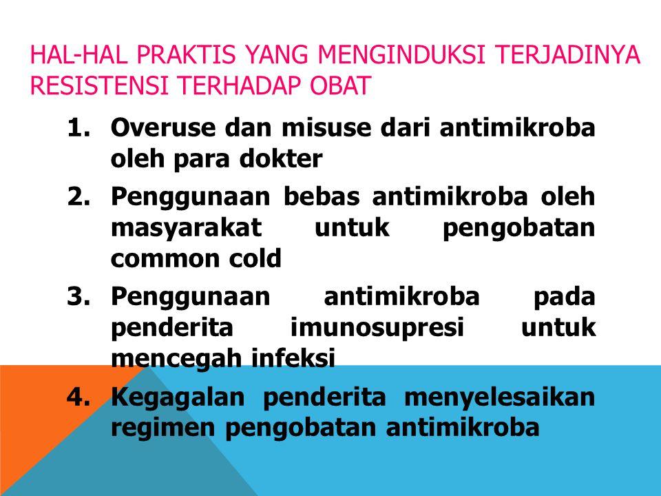 HAL-HAL PRAKTIS YANG MENGINDUKSI TERJADINYA RESISTENSI TERHADAP OBAT 1.Overuse dan misuse dari antimikroba oleh para dokter 2.Penggunaan bebas antimik