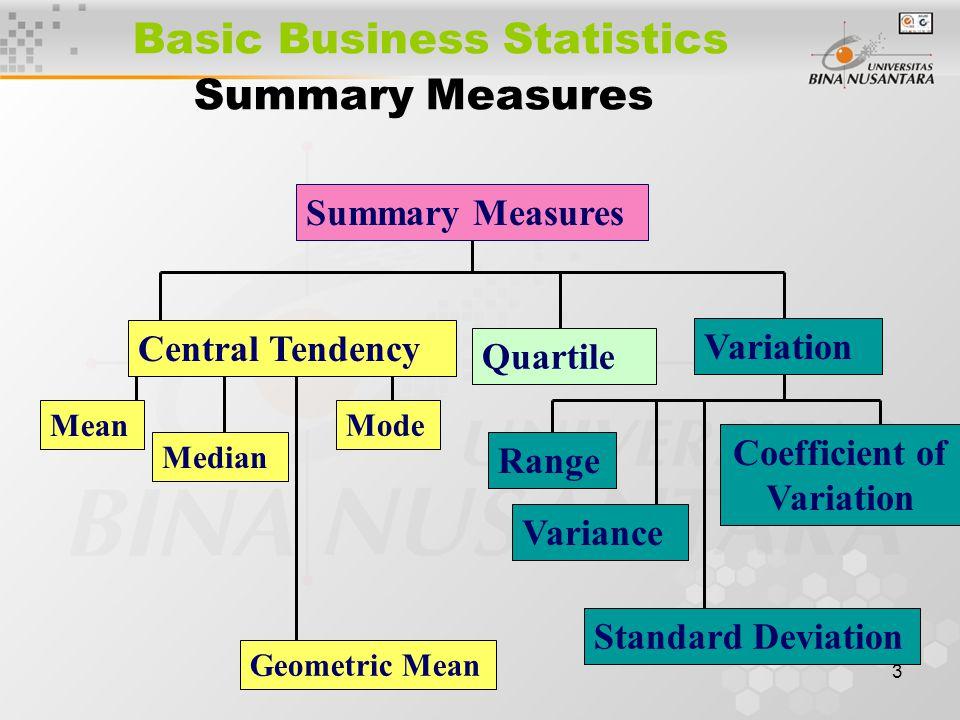 3 Basic Business Statistics Summary Measures Central Tendency Mean Median Mode Quartile Geometric Mean Summary Measures Variation Variance Standard De