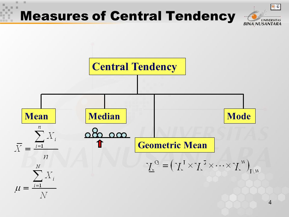 4 Measures of Central Tendency Central Tendency MeanMedian Mode Geometric Mean