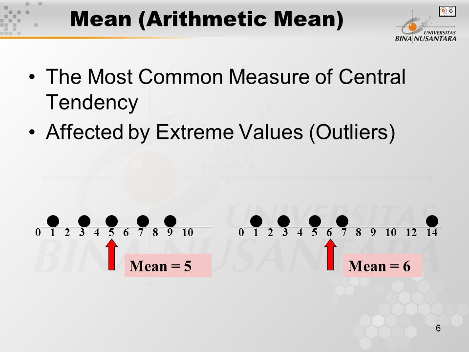 6 Mean (Arithmetic Mean) The Most Common Measure of Central Tendency Affected by Extreme Values (Outliers) 0 1 2 3 4 5 6 7 8 9 100 1 2 3 4 5 6 7 8 9 1