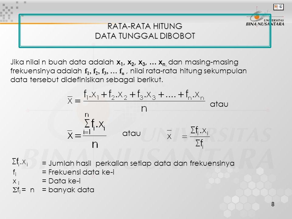 8 RATA-RATA HITUNG DATA TUNGGAL DIBOBOT = Jumlah hasil perkalian setiap data dan frekuensinya f i = Frekuensi data ke-i x i = Data ke-i  f i = n = ba