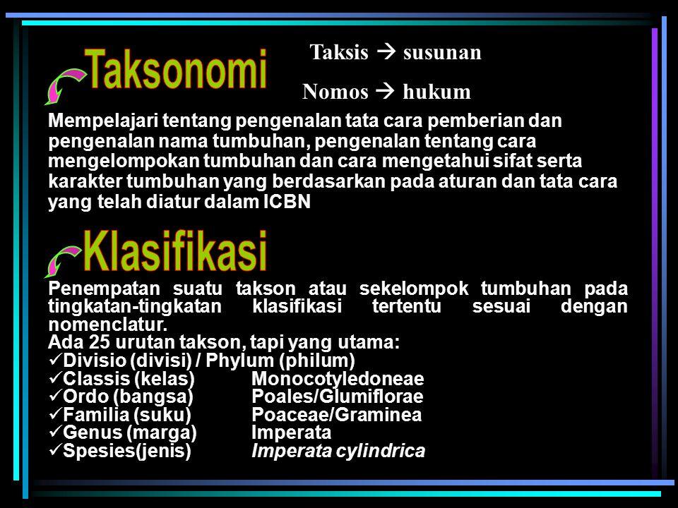 Taksis  susunan Nomos  hukum Mempelajari tentang pengenalan tata cara pemberian dan pengenalan nama tumbuhan, pengenalan tentang cara mengelompokan