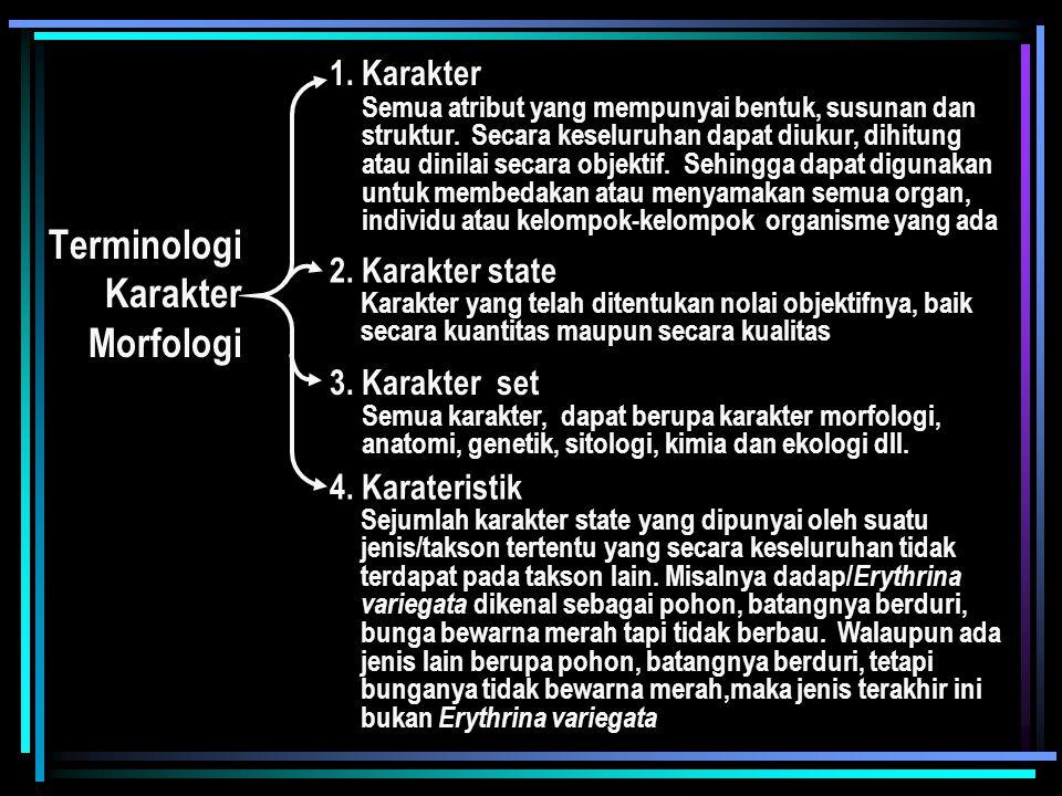 Terminologi Karakter Morfologi 1. Karakter 2. Karakter state 3. Karakter set 4. Karateristik Semua atribut yang mempunyai bentuk, susunan dan struktur
