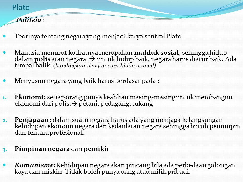 Plato Politeia : Teorinya tentang negara yang menjadi karya sentral Plato Manusia menurut kodratnya merupakan mahluk sosial, sehingga hidup dalam poli