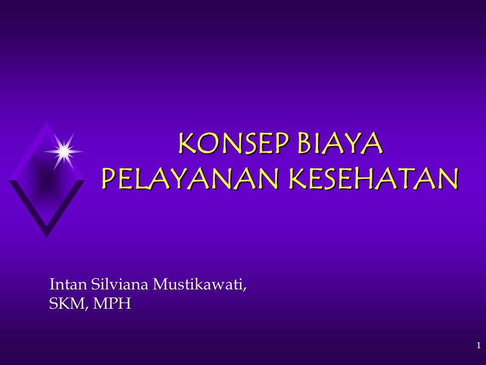 1 KONSEP BIAYA PELAYANAN KESEHATAN Intan Silviana Mustikawati, SKM, MPH