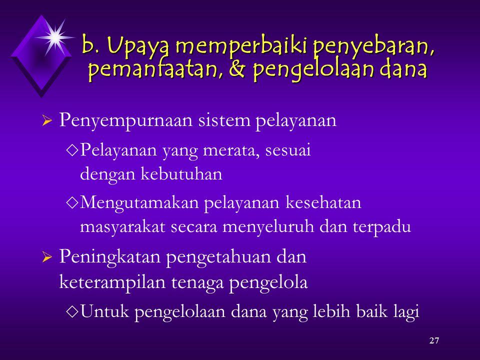 27 b. Upaya memperbaiki penyebaran, pemanfaatan, & pengelolaan dana  Penyempurnaan sistem pelayanan  Pelayanan yang merata, sesuai dengan kebutuhan