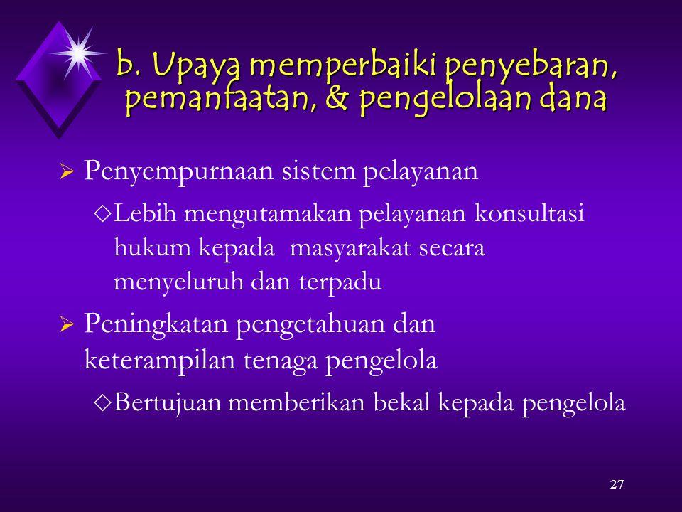 27 b. Upaya memperbaiki penyebaran, pemanfaatan, & pengelolaan dana  Penyempurnaan sistem pelayanan  Lebih mengutamakan pelayanan konsultasi hukum k