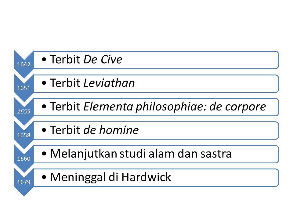 1642 Terbit De Cive 1651 Terbit Leviathan 1655 Terbit Elementa philosophiae: de corpore 1658 Terbit de homine 1660 Melanjutkan studi alam dan sastra 1