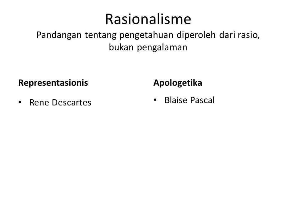 Rasionalisme Pandangan tentang pengetahuan diperoleh dari rasio, bukan pengalaman Representasionis Rene Descartes Apologetika Blaise Pascal