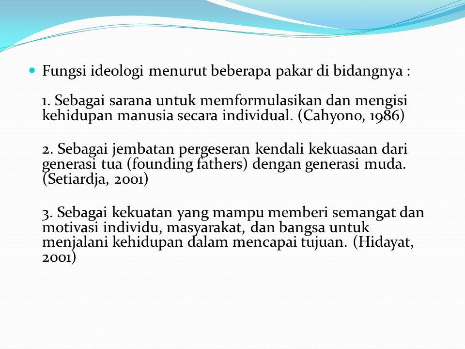 Fungsi ideologi menurut beberapa pakar di bidangnya : 1.