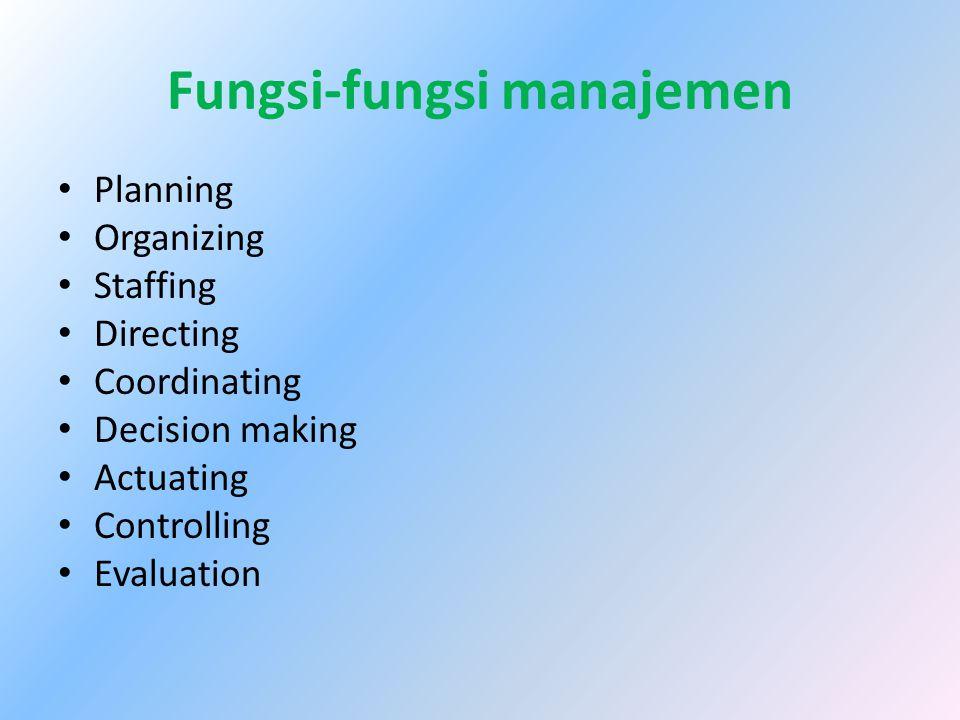 Fungsi-fungsi manajemen Planning Organizing Staffing Directing Coordinating Decision making Actuating Controlling Evaluation