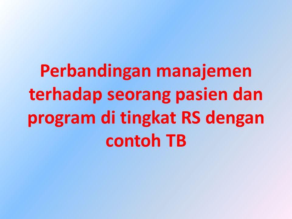Perbandingan manajemen terhadap seorang pasien dan program di tingkat RS dengan contoh TB