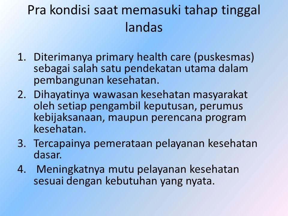 Pra kondisi saat memasuki tahap tinggal landas 1.Diterimanya primary health care (puskesmas) sebagai salah satu pendekatan utama dalam pembangunan kes