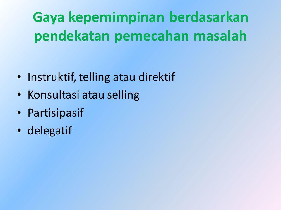 Gaya kepemimpinan berdasarkan pendekatan pemecahan masalah Instruktif, telling atau direktif Konsultasi atau selling Partisipasif delegatif