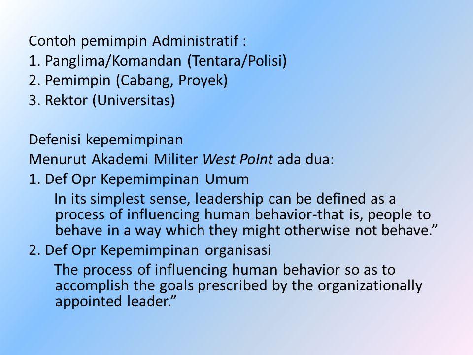 Contoh pemimpin Administratif : 1. Panglima/Komandan (Tentara/Polisi) 2. Pemimpin (Cabang, Proyek) 3. Rektor (Universitas) Defenisi kepemimpinan Menur