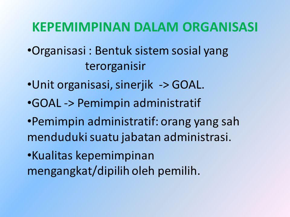 KEPEMIMPINAN DALAM ORGANISASI Organisasi : Bentuk sistem sosial yang terorganisir Unit organisasi, sinerjik -> GOAL. GOAL -> Pemimpin administratif Pe