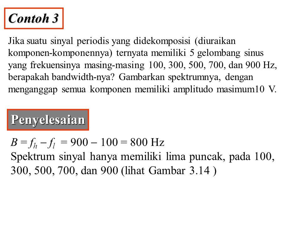Contoh 3 Jika suatu sinyal periodis yang didekomposisi (diuraikan komponen-komponennya) ternyata memiliki 5 gelombang sinus yang frekuensinya masing-m