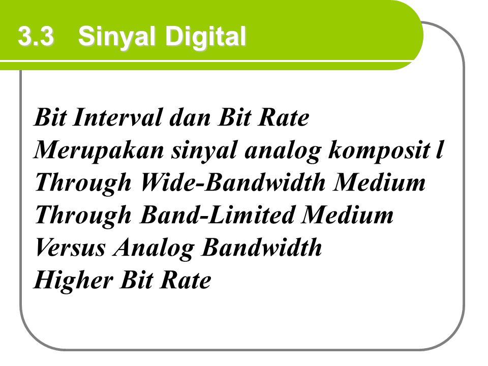 3.3 Sinyal Digital Bit Interval dan Bit Rate Merupakan sinyal analog komposit l Through Wide-Bandwidth Medium Through Band-Limited Medium Versus Analo