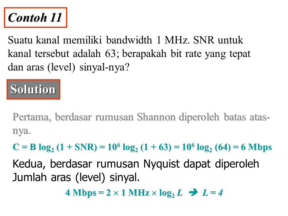 Contoh 11 Suatu kanal memiliki bandwidth 1 MHz. SNR untuk kanal tersebut adalah 63; berapakah bit rate yang tepat dan aras (level) sinyal-nya? Solutio