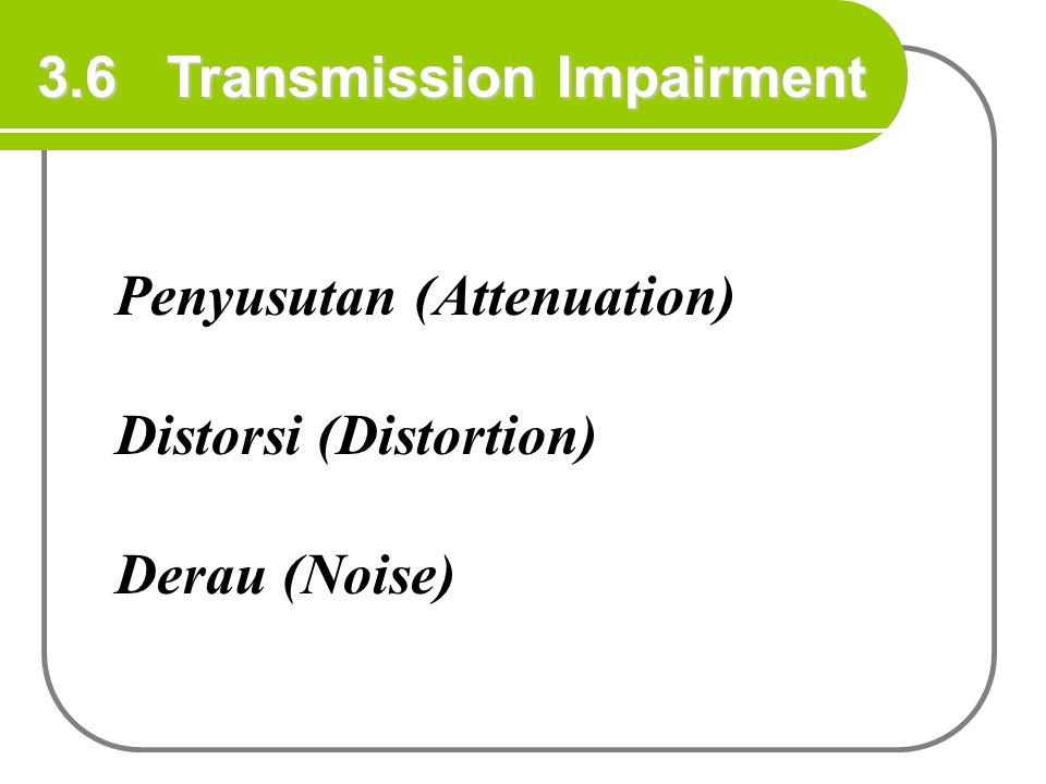 3.6 Transmission Impairment Penyusutan (Attenuation) Distorsi (Distortion) Derau (Noise)