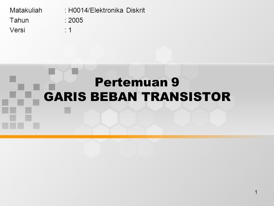 1 Pertemuan 9 GARIS BEBAN TRANSISTOR Matakuliah: H0014/Elektronika Diskrit Tahun: 2005 Versi: 1
