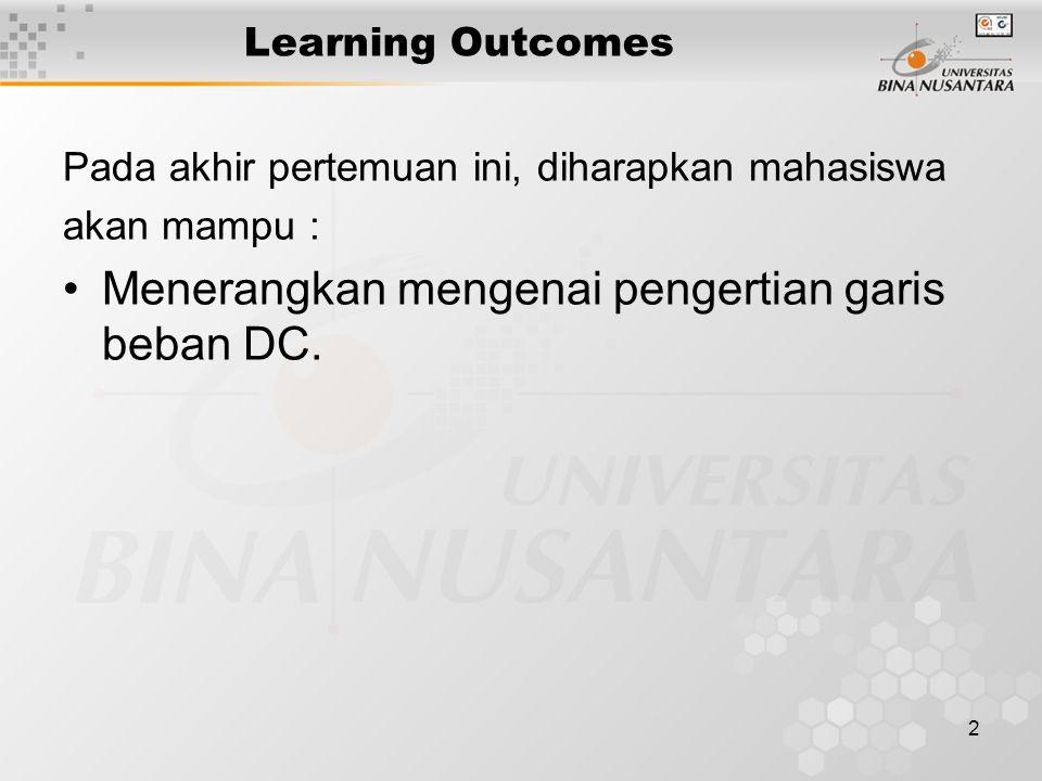 2 Learning Outcomes Pada akhir pertemuan ini, diharapkan mahasiswa akan mampu : Menerangkan mengenai pengertian garis beban DC.