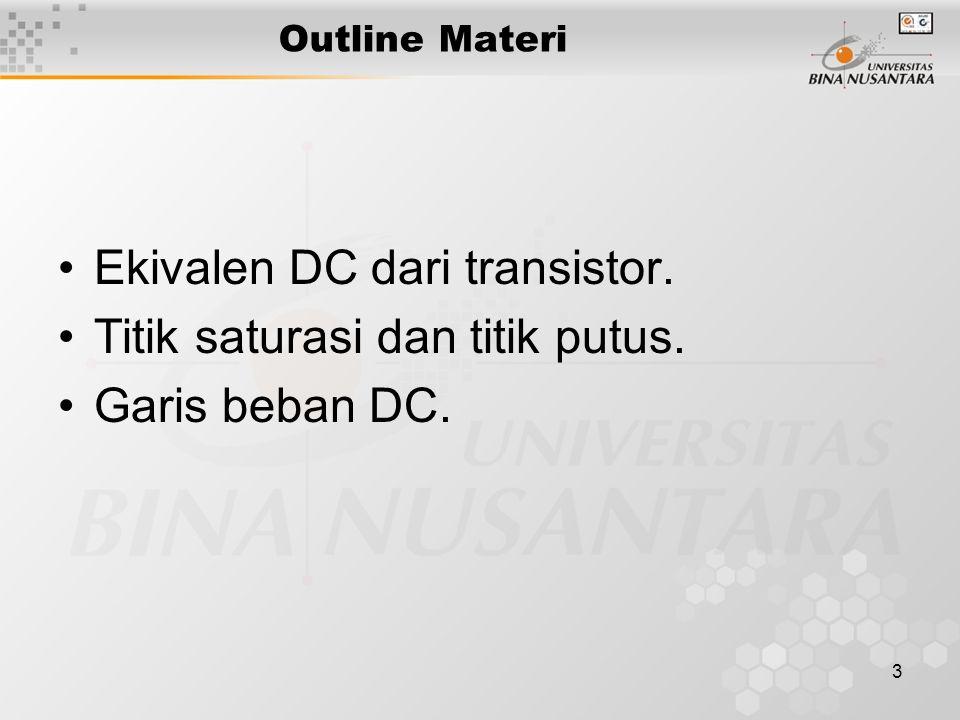 3 Outline Materi Ekivalen DC dari transistor. Titik saturasi dan titik putus. Garis beban DC.