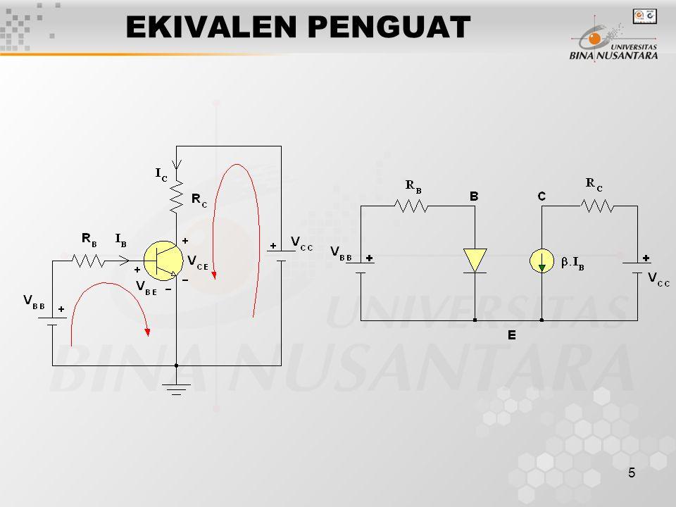6 PERSAMAAN KIRCHOFF -V BB + I B R B + V BE = 0( 1 ) -V EE + I C R C + V CE = 0( 2 ) Putus, I C = 0  V CE(cutoff) = V CC