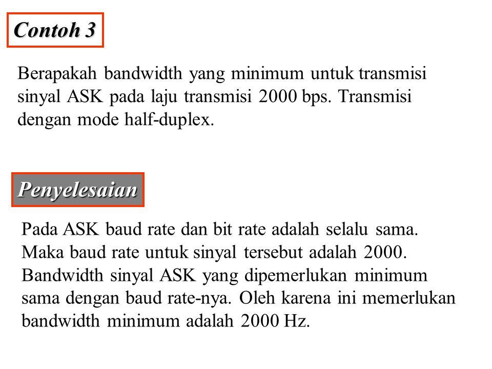 Contoh 4 Disediakan suatu bandwidth 5000 Hz untuk mentransmisikan sinyal ASK, berapakah nilai baud rate dan bit rate-nya.