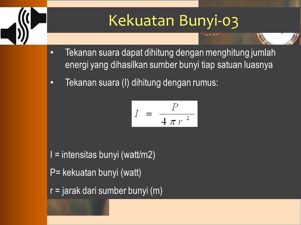 Kekuatan Bunyi-03 Tekanan suara dapat dihitung dengan menghitung jumlah energi yang dihasilkan sumber bunyi tiap satuan luasnya Tekanan suara (I) dihi