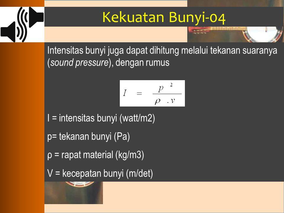 Kekuatan Bunyi-04 Intensitas bunyi juga dapat dihitung melalui tekanan suaranya ( sound pressure ), dengan rumus I = intensitas bunyi (watt/m2) p= tek