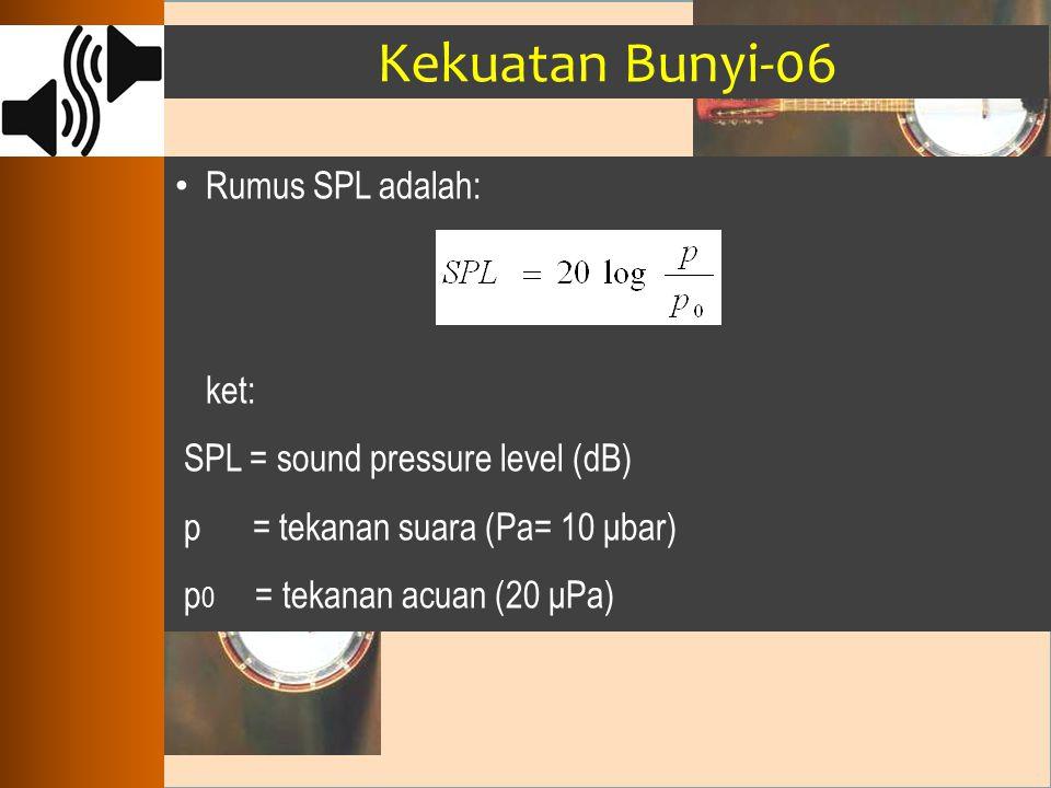 Kekuatan Bunyi-06 Rumus SPL adalah: ket: SPL = sound pressure level (dB) p = tekanan suara (Pa= 10 μbar) p 0 = tekanan acuan (20 μPa)