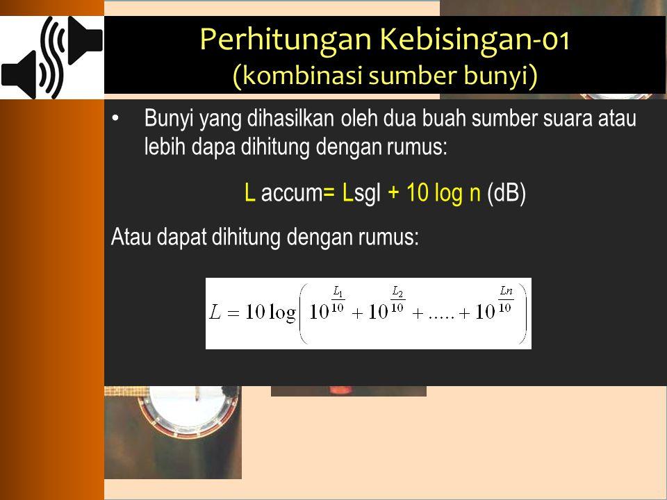 Perhitungan Kebisingan-01 (kombinasi sumber bunyi) Bunyi yang dihasilkan oleh dua buah sumber suara atau lebih dapa dihitung dengan rumus: L accum= Ls